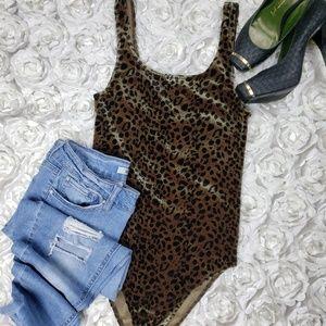 Topshop Animal Print Tank Style Velvet Body Suit